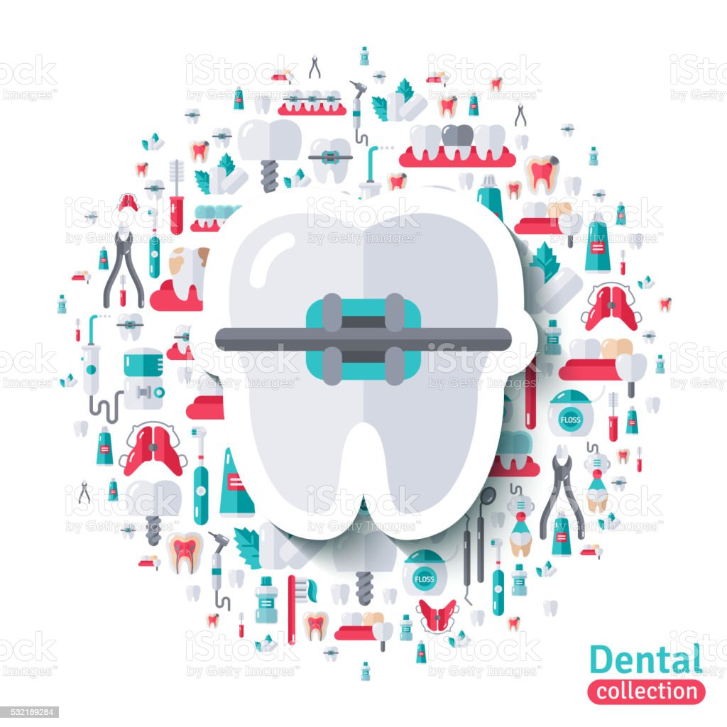 Flat Tooth in Braces Sticker Icon. vector art illustration