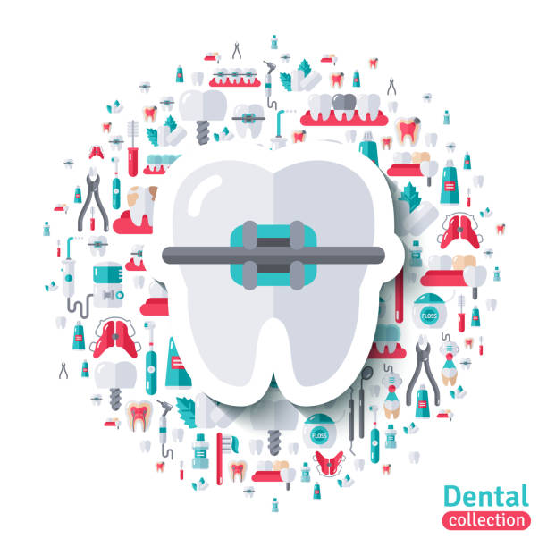 flat tooth in braces sticker icon. - orthodontist stock illustrations, clip art, cartoons, & icons