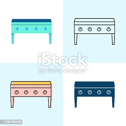 Flat top grill icon set in flat and line styles. Professional restaurant equipment symbols. Vector illustration.