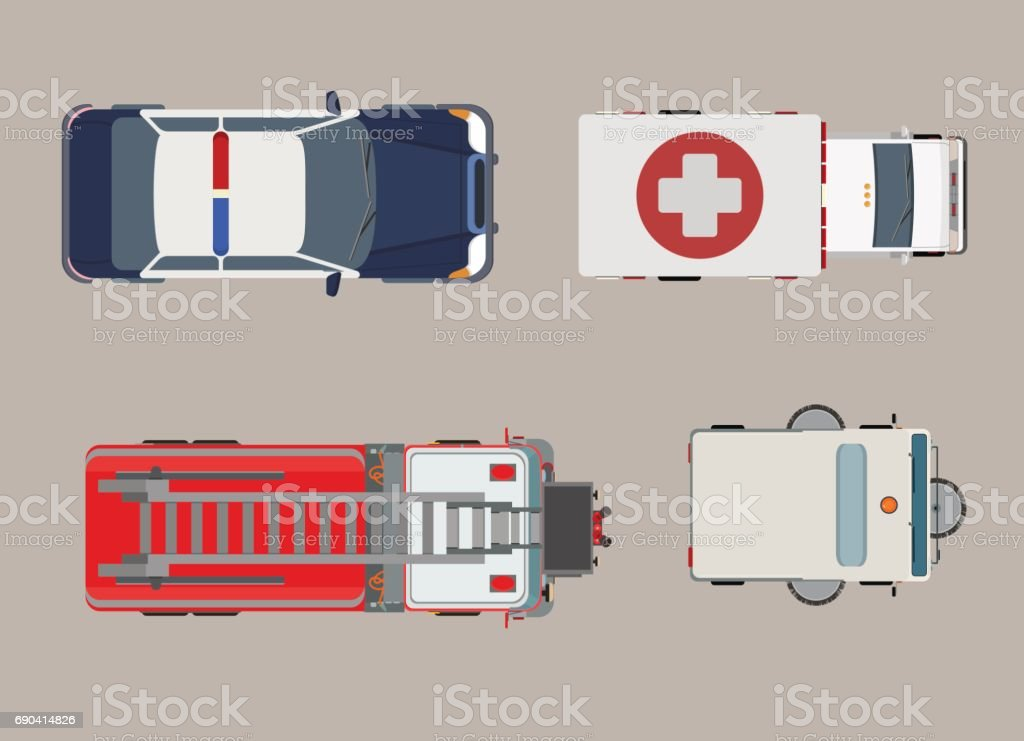 Flat Top view police, ambulance, fire engine auto vector illustration set. City vehicle service and specialized transport collection. vector art illustration