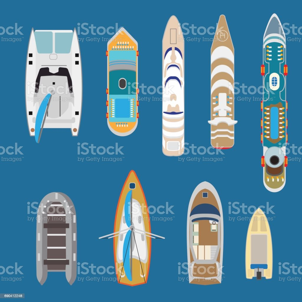 Flat Top view yachts and boats on blue water background vector illustration set. Marine nautical transport concept. vector art illustration
