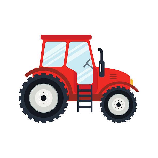 illustrazioni stock, clip art, cartoni animati e icone di tendenza di piatto trattore su sfondo bianco. - trattore