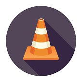 Flat & Long Shadow Traffic Cone Icon