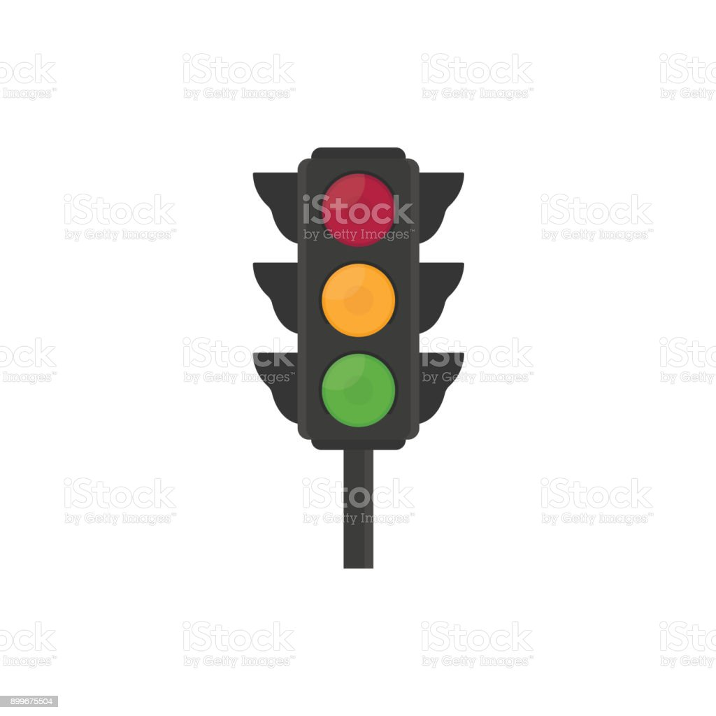 Flat traffic light illustration vector art illustration