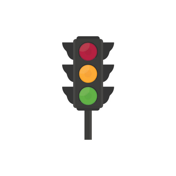 flat traffic light illustration - stoplights stock illustrations, clip art, cartoons, & icons