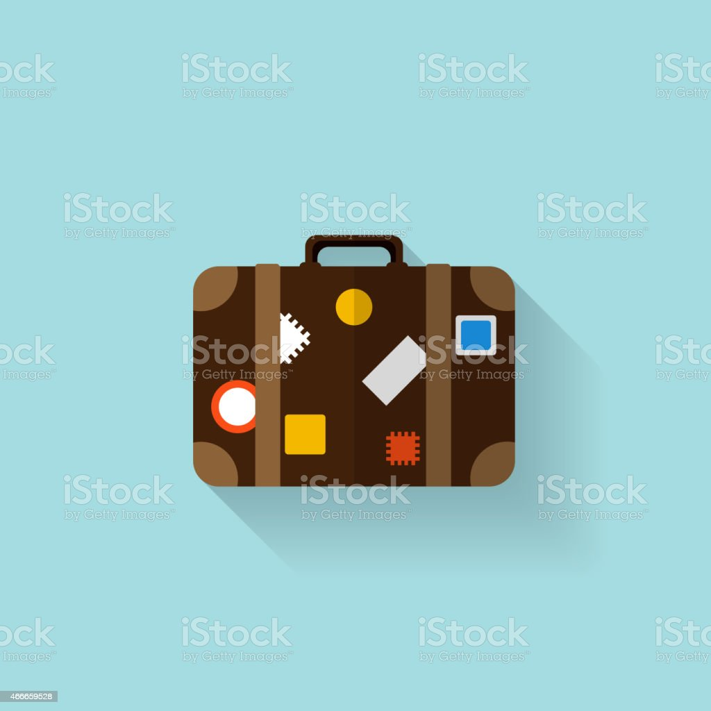 Flat travel bag web icon vector art illustration