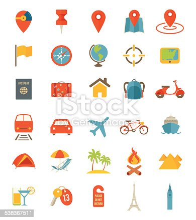 A set of flat travel icons.