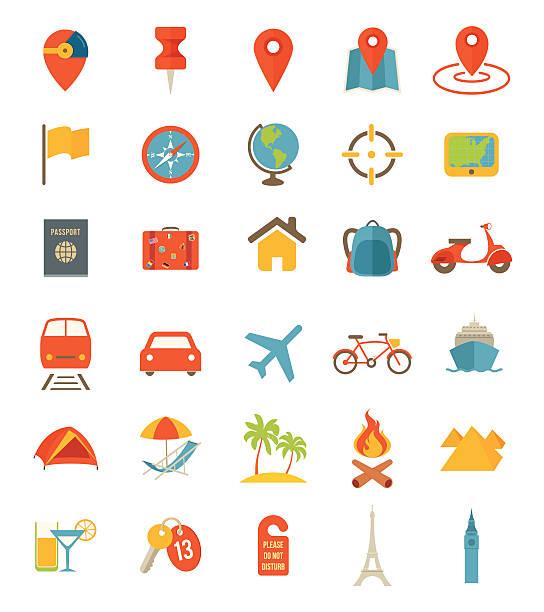 płaski ikony podróży - podróżowanie stock illustrations