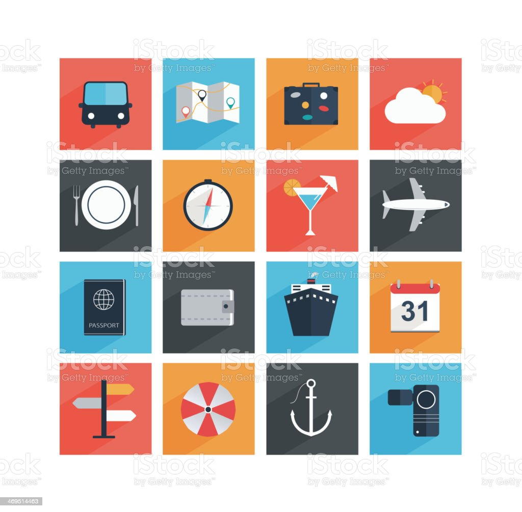 Flat travel icons with long shadow, tourism and vacation. vector art illustration
