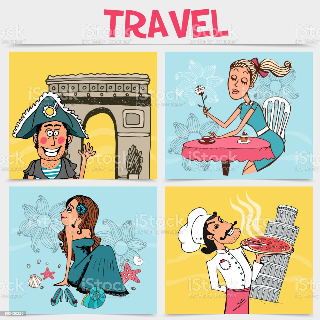 Flat Travel Square Concept royalty-free flat travel square concept stock illustration - download image now