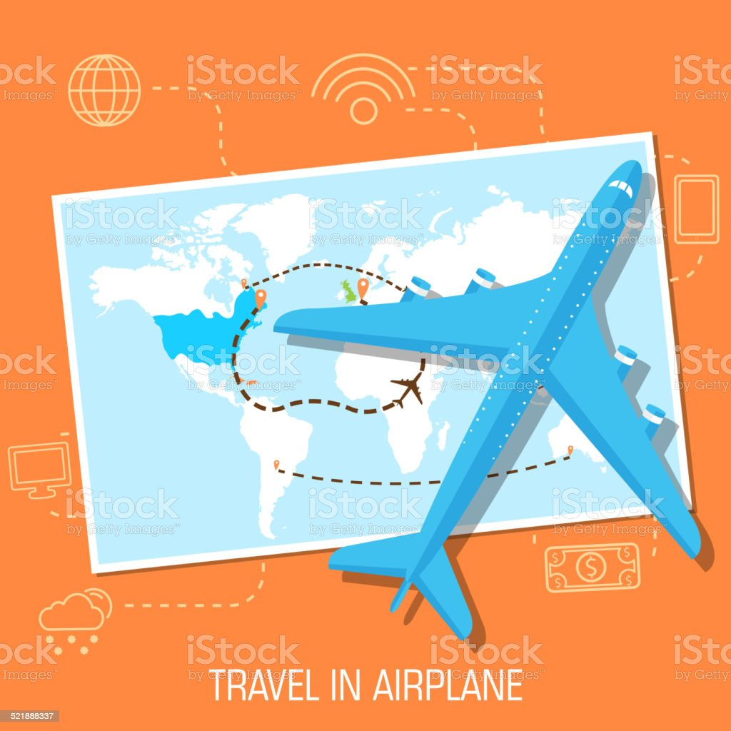 flat travel with airplane illustration design concept background vector art illustration
