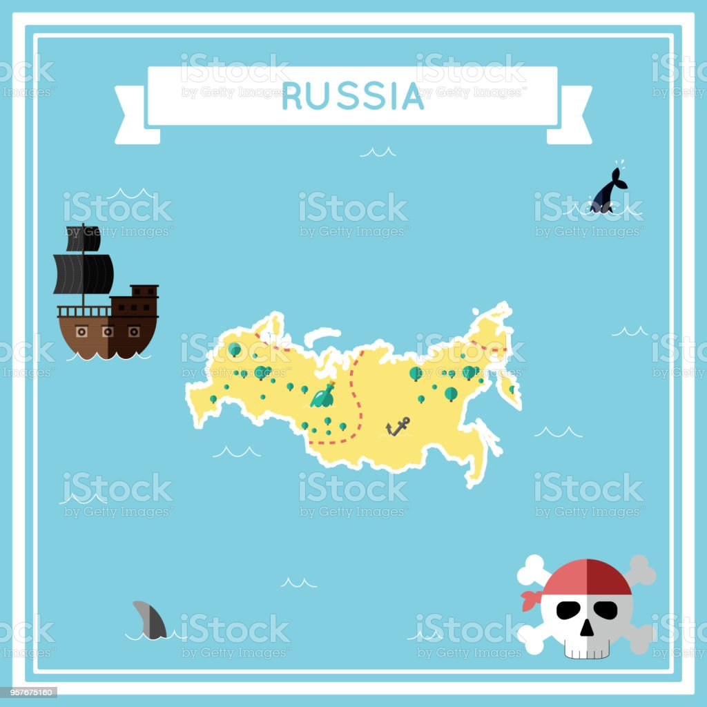 Flat Treasure Map Of Russian Federation Stock Illustration ... on flat united states map, flat eurasia map, flat great britain map, flat country map, flat europe map, flat us map, flat africa map, flat world maps,