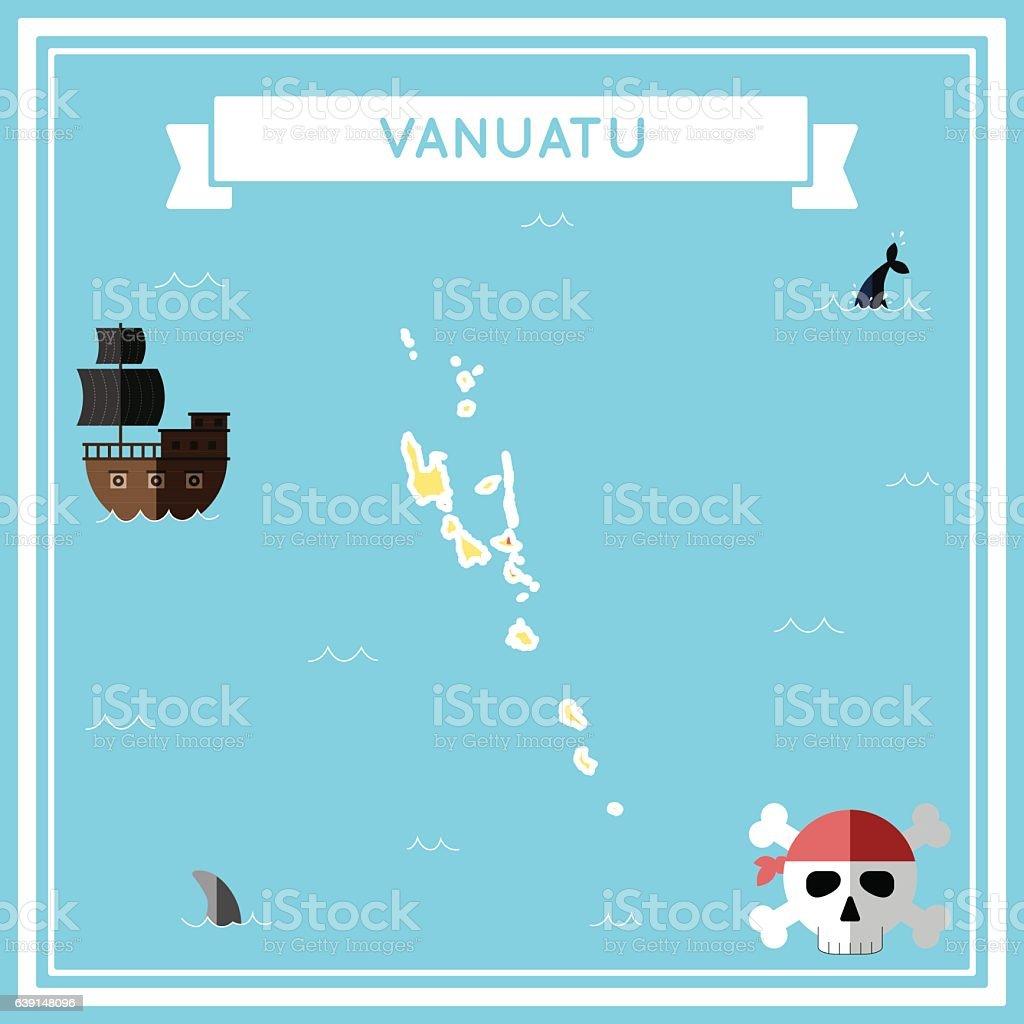 Flat treasure map of Vanuatu. vector art illustration