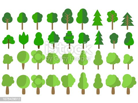Flat trees. Trees set in a flat design. Vector icons.