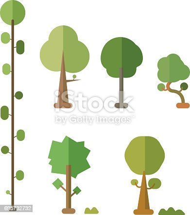 istock Flat trees vector set with bush and isolated white background 695732732