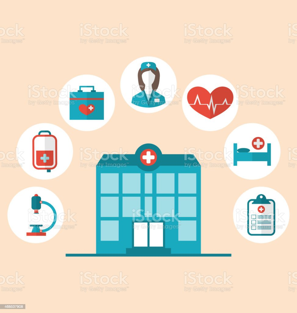 Flat Trendy Icons of Hospital and Another Medical vector art illustration