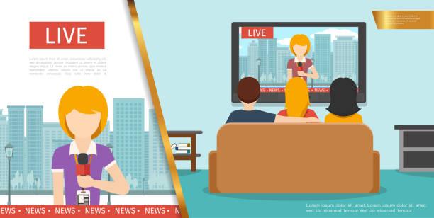 Flat TV News Konzept – Vektorgrafik