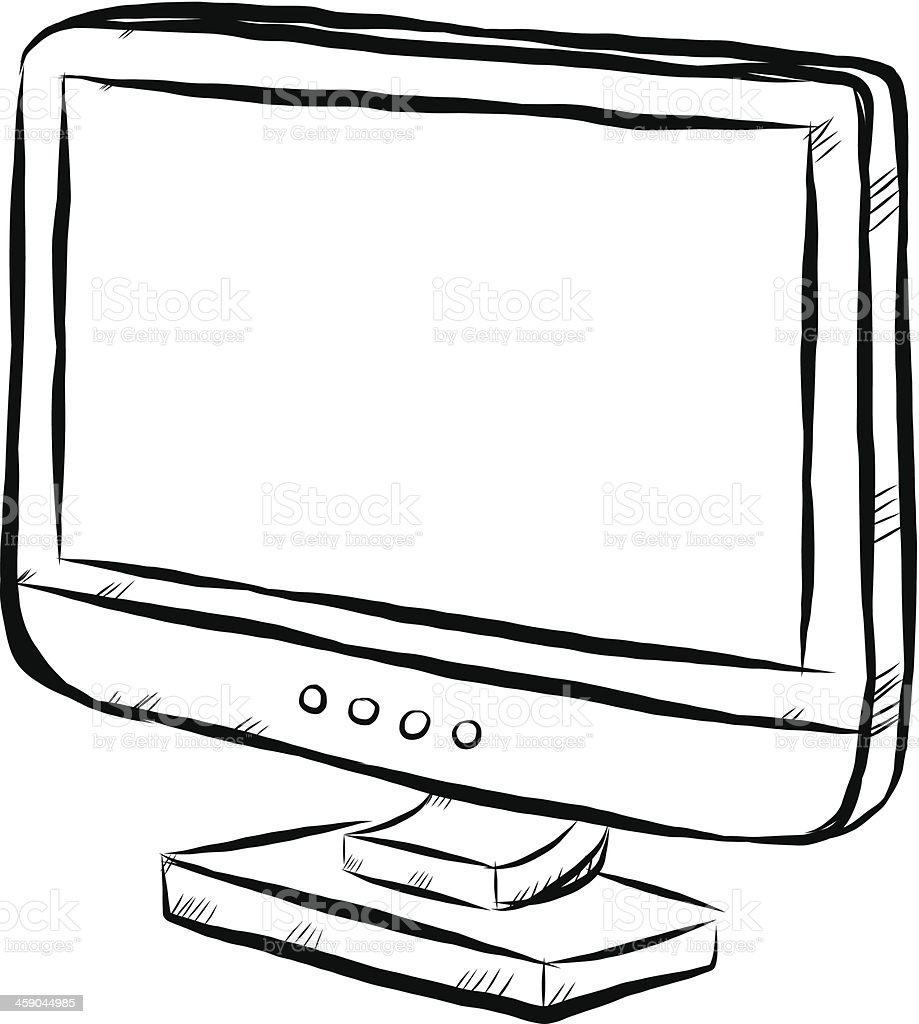 Flat Tv Or Computer Monitor Stock Vector Art & More Images of Art ...