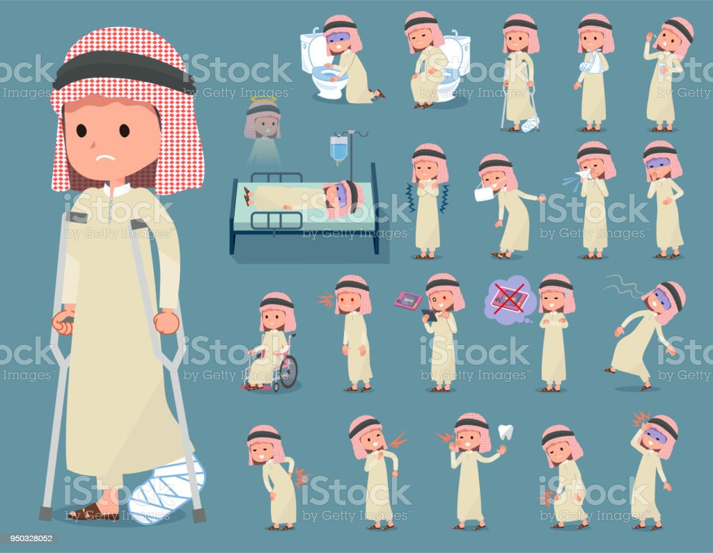 flat type Arab boy_sickness vector art illustration