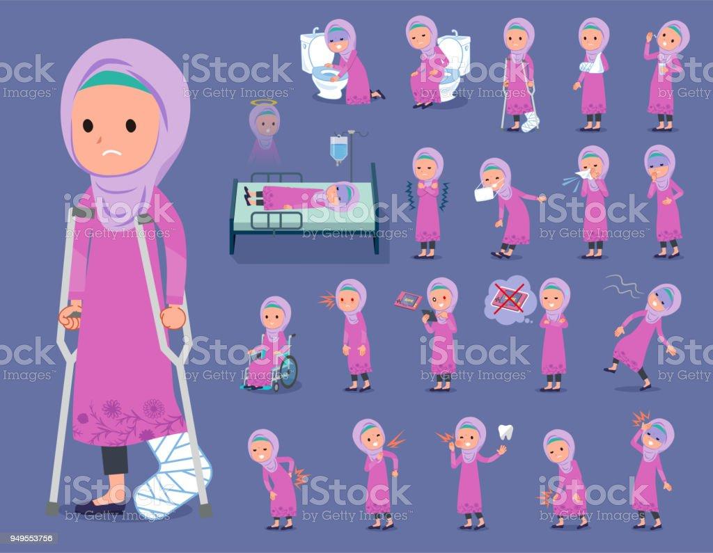 flat type Arab girl_sickness vector art illustration