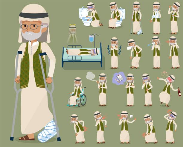 flat type arab old men_sickness - old man mask stock illustrations