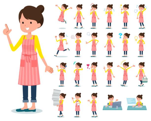 wohnung typ ballett bun haar schürze mom_emotion - hausfrau stock-grafiken, -clipart, -cartoons und -symbole
