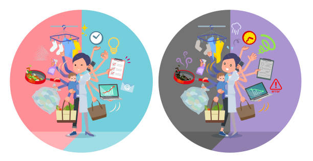 ilustrações de stock, clip art, desenhos animados e ícones de flat type beauty staff women_mulch task switch - fail cooking