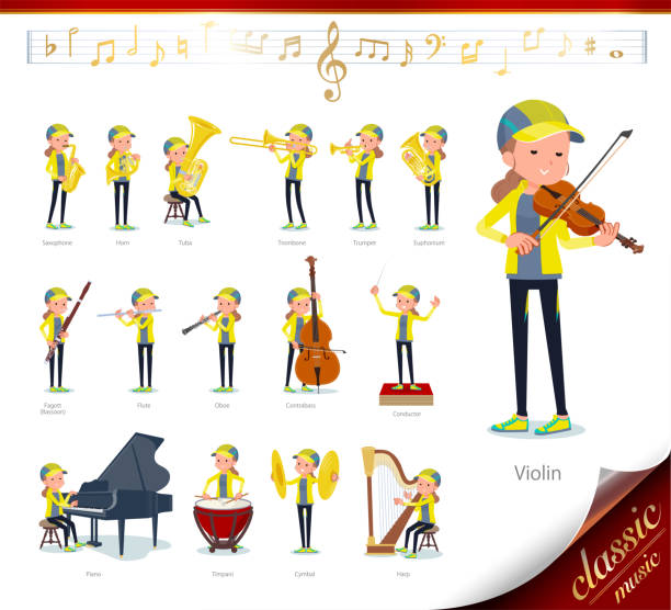 illustrazioni stock, clip art, cartoni animati e icone di tendenza di flat type behind knot hair women sportswear_ classic music - orchestra conductor behind