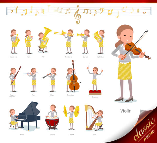 illustrazioni stock, clip art, cartoni animati e icone di tendenza di flat type behind knot hair women_classic music - orchestra conductor behind