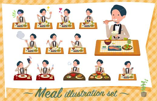flat type beige tuxedo men_Meal
