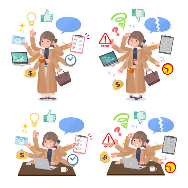 フラットタイプビッグサイズコートwomen_mulchタスクオフィス - 大学生 パソコン 日本点のイラスト素材/クリップアート素材/マンガ素材/アイコン素材