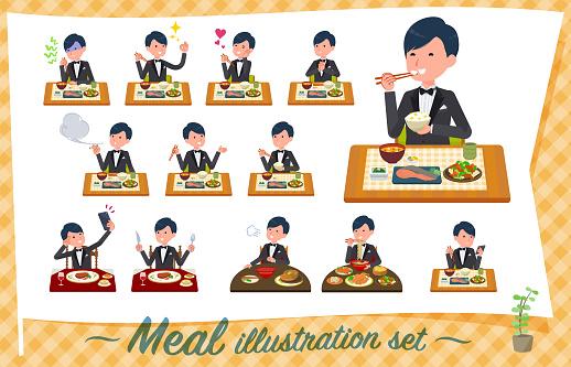 flat type Black tuxedo men_Meal