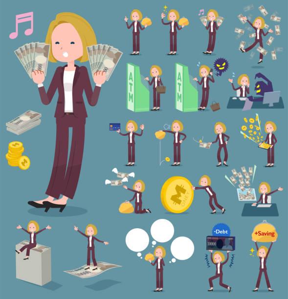 stockillustraties, clipart, cartoons en iconen met platte type blond haar bedrijf women_money - woman very rich