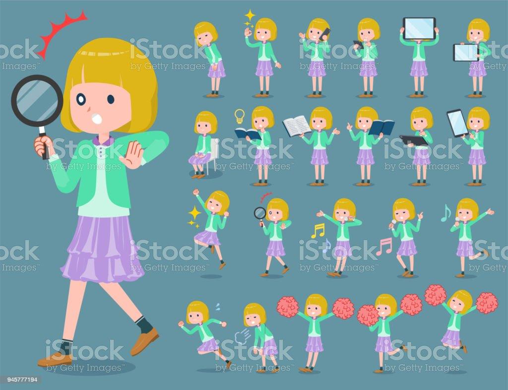 flat type blond hair girl white_2 vector art illustration