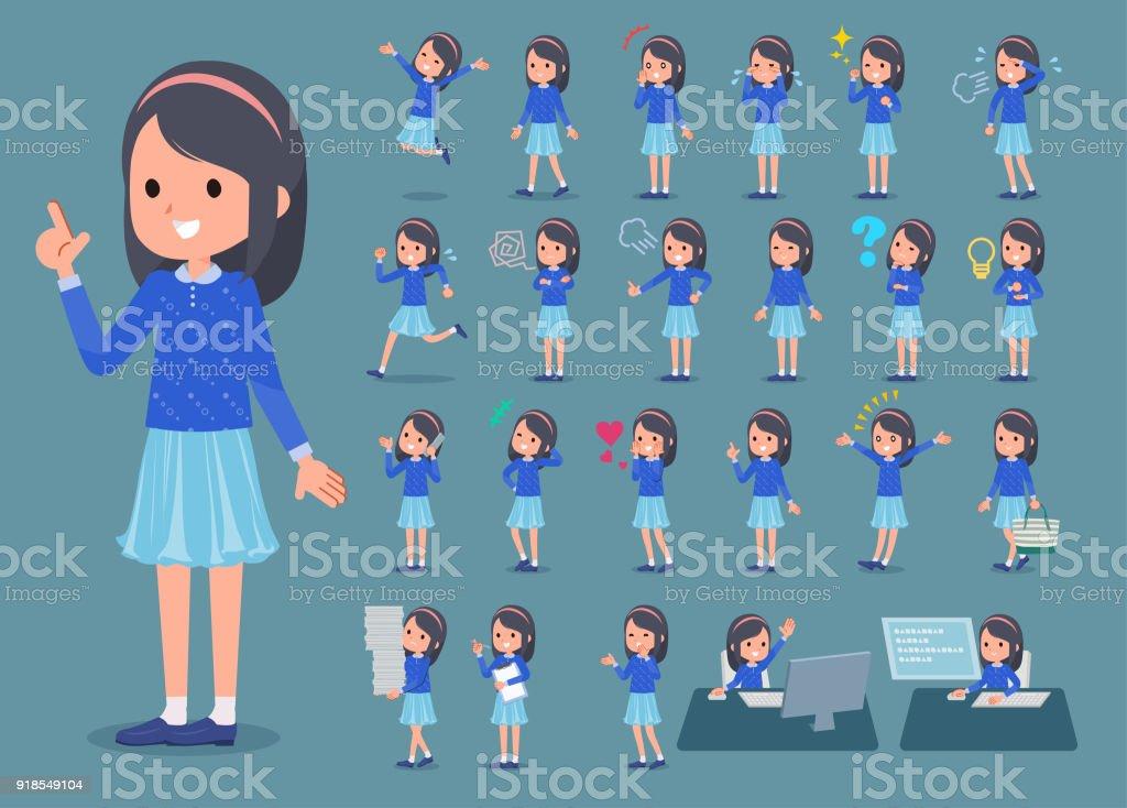 平型青い服ヘッドバンド girl_1 ベクターアートイラスト