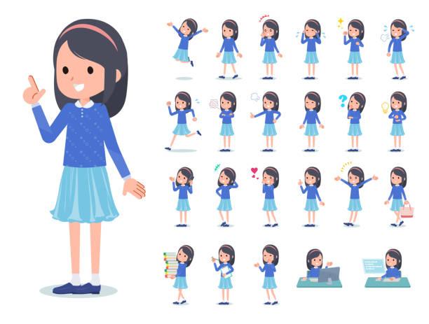 stockillustraties, clipart, cartoons en iconen met platte type blauwe kleren hoofdband girl_emotion - schoolmeisje