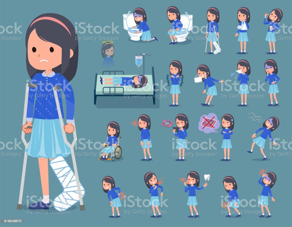 flat type Blue clothes headband girl_sickness vector art illustration
