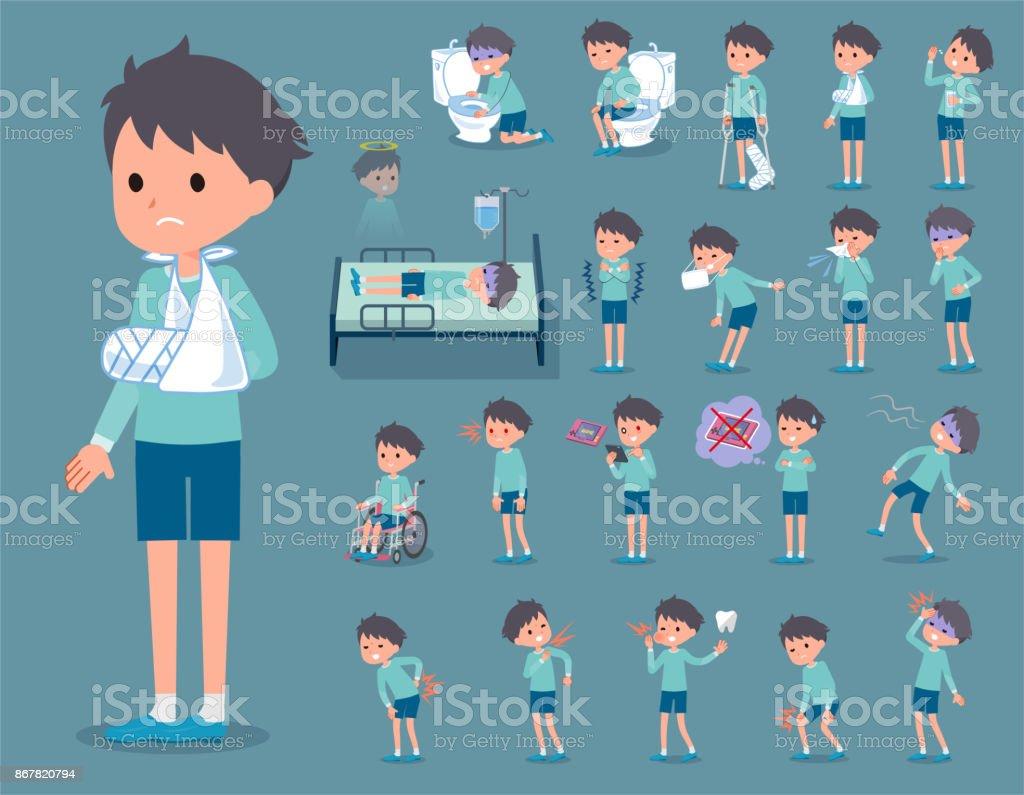 flat type blue clothing boy_sickness vector art illustration