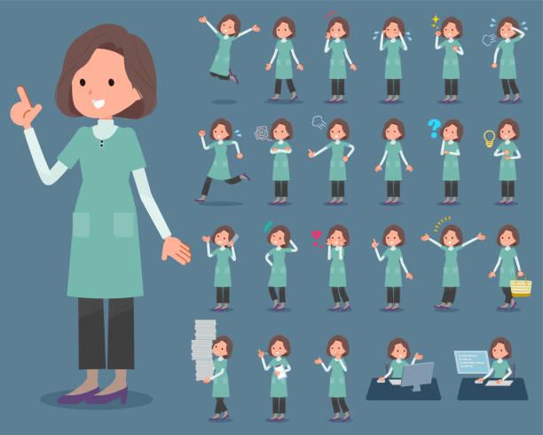 wohnung typ grüne tunika mitte women_1 - hausfrau stock-grafiken, -clipart, -cartoons und -symbole