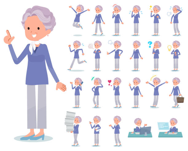 flat type blue one piece old women_emotion - babka dziadek i babcia stock illustrations