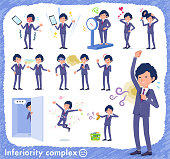 flat type blue suit curly hair men_complex