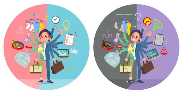 ilustrações de stock, clip art, desenhos animados e ícones de flat type blue suit glasses man_mulch task switch - fail cooking