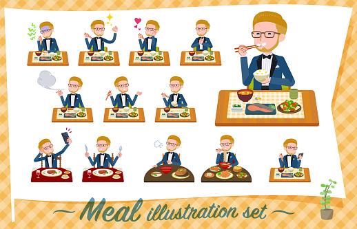 flat type blue tuxedo men_Meal