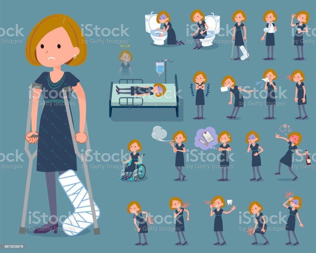 flat type Bob hair black dress woman_sickness vector art illustration
