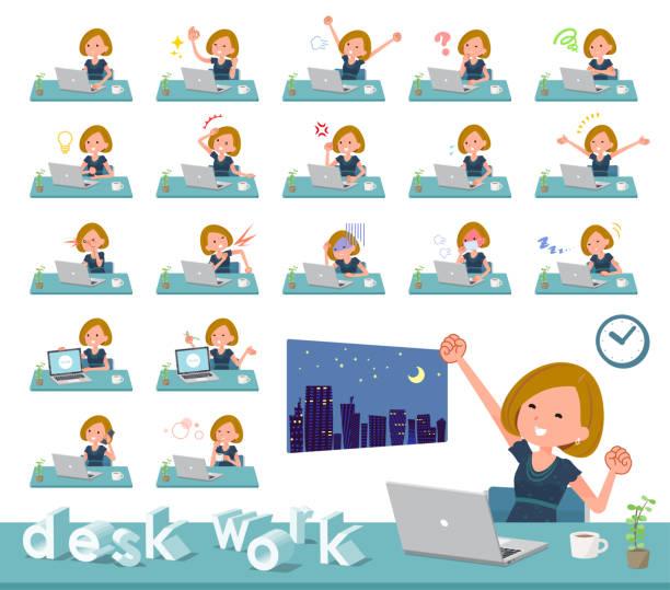 フラット型ボブは髪黒いドレス women_desk 作業 - 大学生 パソコン 日本点のイラスト素材/クリップアート素材/マンガ素材/アイコン素材
