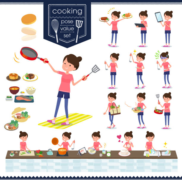 flat type bun hair mom sportswear_cooking - woman cooking stock illustrations