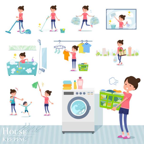 bildbanksillustrationer, clip art samt tecknat material och ikoner med platt typ bun hår mamma sportswear_housekeeping - japanese bath woman