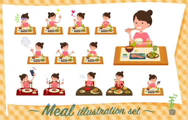 illustrazioni stock, clip art, cartoni animati e icone di tendenza di flat type bun hair mom sportswear_meal - galateo a tavola