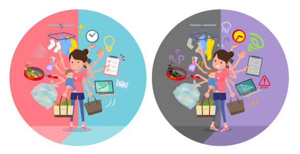 ilustrações de stock, clip art, desenhos animados e ícones de flat type bun hair mom sportswear_mulch task switch - fail cooking