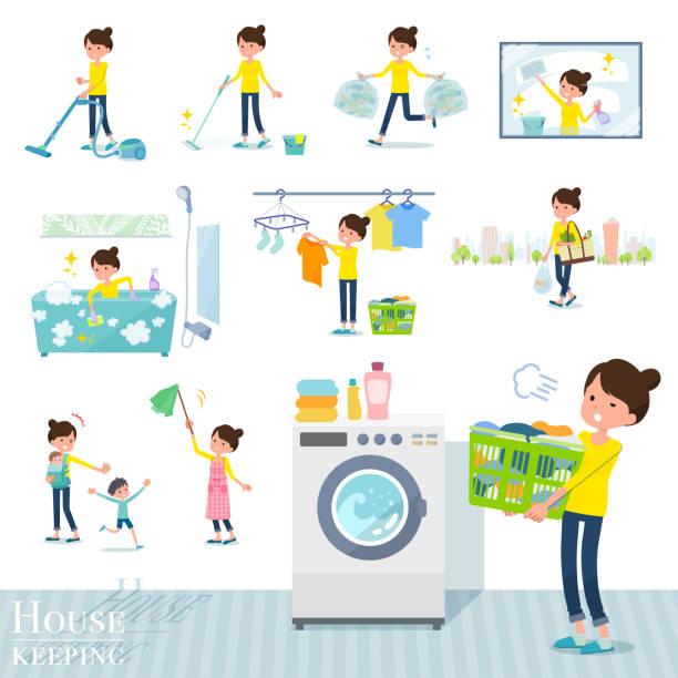 bildbanksillustrationer, clip art samt tecknat material och ikoner med platt typ bun hår mom_housekeeping - japanese bath woman